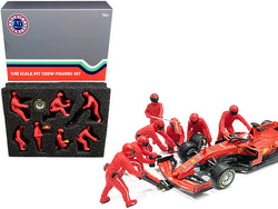 Formula One F1 Pit Crew (7 Figure Set) Team Red for 1/18 Scale Models by American Diorama
