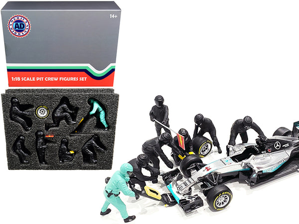 Formula One F1 Pit Crew (7 Figure Set) Team Black for 1/18 Scale Models by American Diorama
