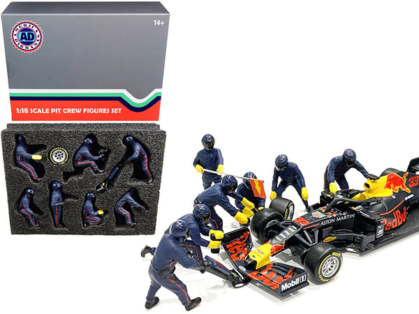 Formula One F1 Pit Crew (7 Figure Set) Team Blue for 1/18 Scale Models by American Diorama