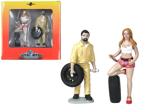 Andie and Gary Tire Brigade (2 Piece Figure Set) 1/18 by Motorhead Miniatures