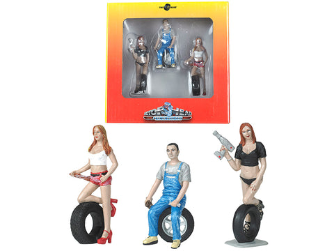 Andie, Derek and Michele Tire Brigade (3 Piece Figure Set) 1/24 by Motorhead Miniatures