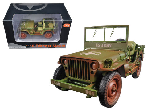 US Army WWII Jeep Vehicle Green Weathered Version 1/18 Diecast Model by American Diorama