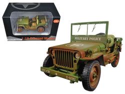 "US Army WWII Jeep Vehicle ""MP"" Green Weathered Version 1/18 Diecast Model by American Diorama"