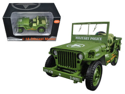 "US Army WWII Jeep Vehicle ""MP"" Green 1/18 Diecast Model by American Diorama"
