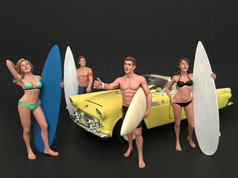 Surfers (4 Piece Figure Set) For 1:18 Diecast Models by American Diorama