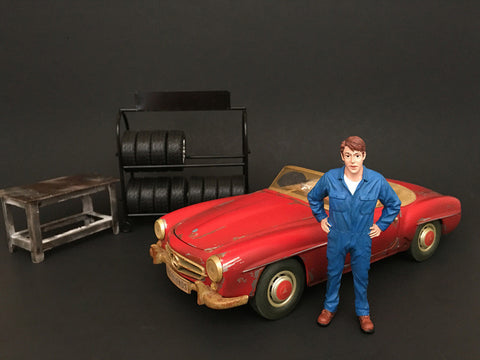 Mechanic John Inspecting Figure For 1:18 Diecast Models by American Diorama