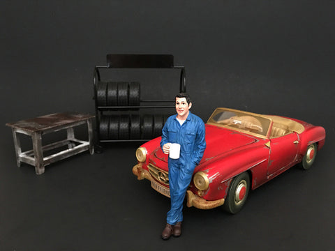 Mechanic Larry Taking Break Figure For 1:18 Diecast Models by American Diorama