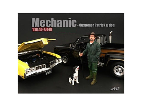 Customer Patrick and Dog Figures For 1/18 Diecast Models by American Diorama