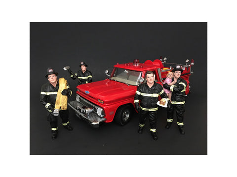 """Firefighters"" (4 Piece Figure Set) For 1:18 Diecast Models by American Diorama"