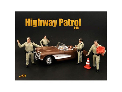 Highway Patrol Officers (4 Piece Figure Set) For 1:18 Diecast Models by American Diorama