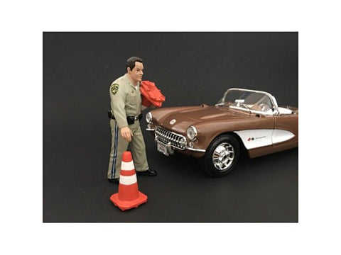 Highway Patrol Officer Collecting Cones Figure For 1/18 Diecast Models by American Diorama
