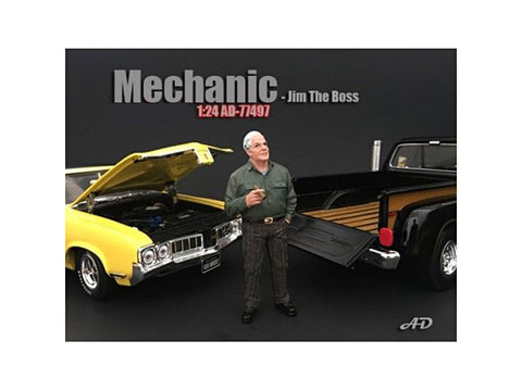 Mechanic Jim The Boss Figure For 1:24 Scale Diecast Models by American Diorama