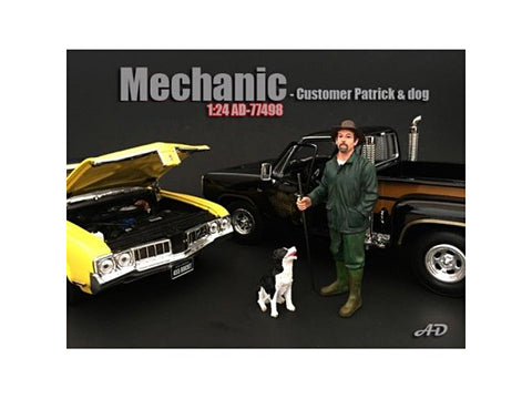 Customer Patrick and a Dog Figure For 1:24 Diecast Models by American Diorama