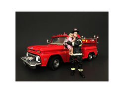 Firefighter Saving Life with Baby Figure For 1:24 Scale Diecast Models by American Diorama