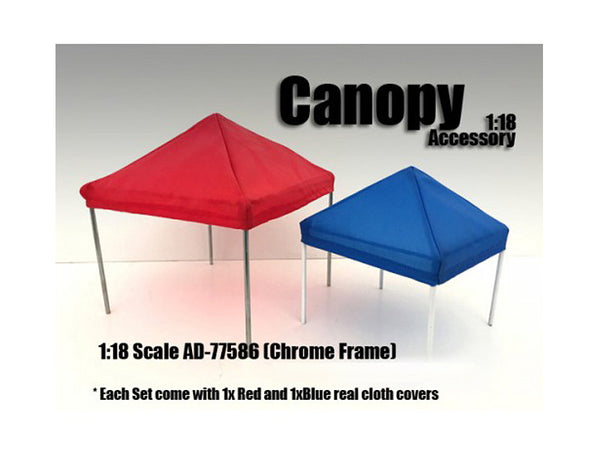 Canopy Accessory Blue and Red with 1 Chrome Frame for 1:18 Diecast Models by American Diorama