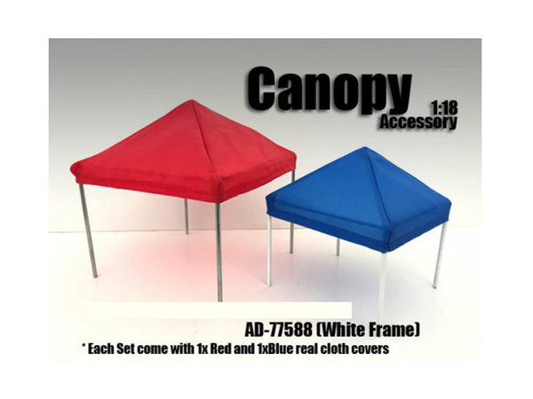 Canopy Accessory Blue and Red with 1 White Frame for 1:18 Diecast Models  by American Diorama