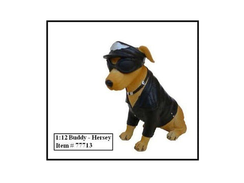 "Biker's Dog ""Buddy Hersey"" Figure For 1:12 Diecast Models by American Diorama"