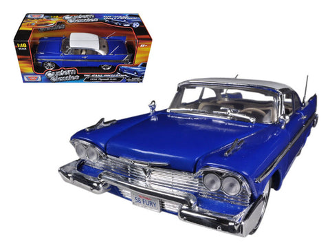 1958 Plymouth Fury Blue Custom 1/18 Diecast Model Car by Motormax