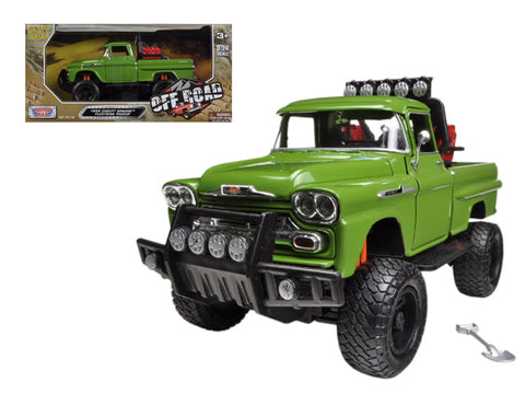 1958 Chevrolet Apache Fleetside Pickup Truck Off Road Green 1/24 Diecast Model by Motormax