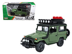 "Toyota FJ40 Land Cruiser Matte Green ""4x4 Overlanders"" Series 1/24 Diecast Model by Motormax"