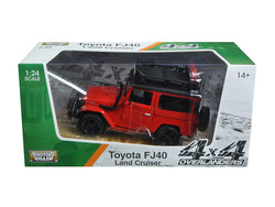 "Toyota FJ40 Land Cruiser Red ""4x4 Overlanders"" Series 1/24 Diecast Model by Motormax"