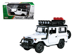 "Toyota FJ40 Land Cruiser White ""4x4 Overlanders"" Series 1/24 Diecast Model by Motormax"