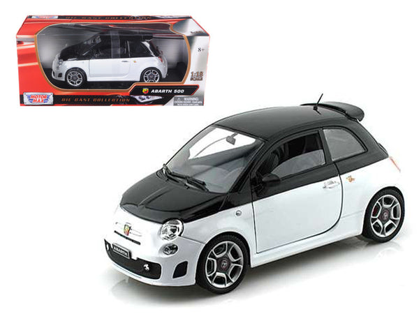 Fiat Abarth 500 White/Black 1/18 Diecast Model Car by Motormax