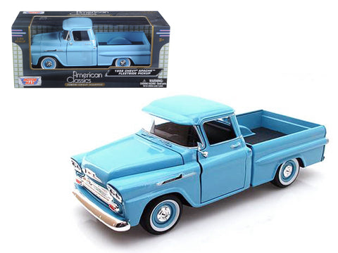 1958 Chevrolet Apache Fleetside Pickup Light Blue 1/24 Diecast Model by Motormax