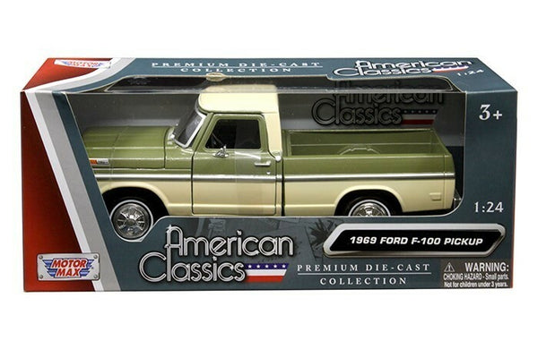 1969 Ford F-100 Pickup Truck Light Green and Cream 1/24 Diecast Model by Motormax