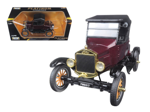 1925 Ford Model T Runabout Burgundy Metallic with Black Soft Top 1/24 Diecast Model Car by Motormax