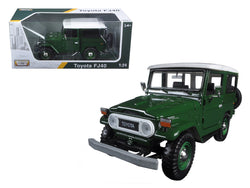 Toyota FJ40 Dark Green with White Top 1/24 Diecast Model Car by Motormax