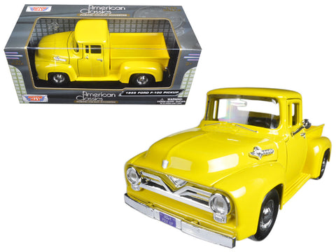1955 Ford F-100 Pickup Truck Yellow 1/24 Diecast Model by Motormax