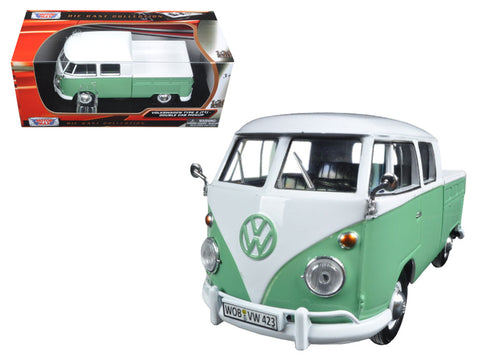 Volkswagen Type 2 (T1) Double Cab Pickup Truck White and Green 1/24 Diecast Model by Motormax