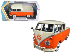 Volkswagen Type 2 (T1) Double Cab Pickup Truck Orange/Cream 1/24 Diecast Model Car by Motormax