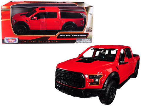 2017 Ford F-150 Raptor Pickup Truck Red with Black Wheels 1/27 Diecast Model by Motormax