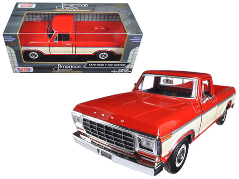 1979 Ford F-150 Pickup Truck 2 Tone Red/Cream 1/24 Diecast Model by Motormax