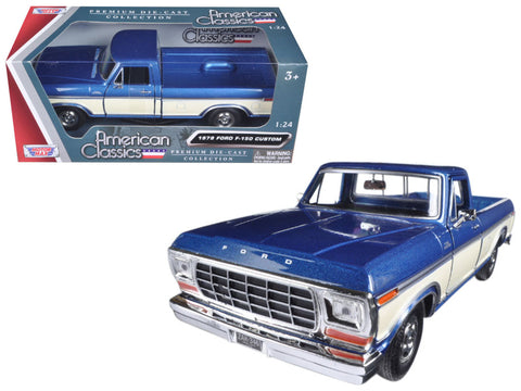 1979 Ford F-150 Pickup Truck 2 Tone Blue/Cream 1/24 Diecast Model by Motormax