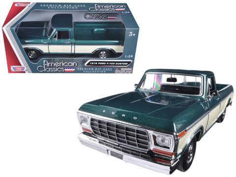 1979 Ford F-150 Pickup Truck 2 Tone Green/Cream 1/24 Diecast Model by Motormax