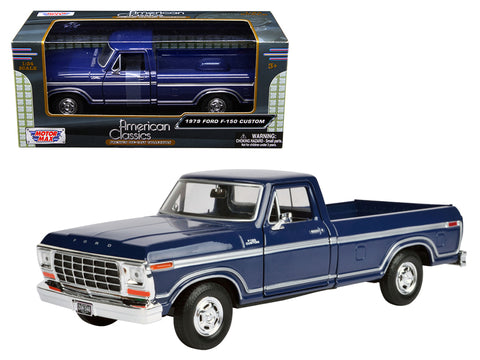 1979 Ford F-150 Pickup Truck Dark Blue 1/24 Diecast Model by Motormax