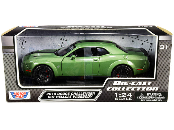 2018 Dodge Challenger SRT Hellcat Widebody Green Metallic with Black Stripes 1/24 Diecast Model Car by Motormax
