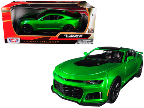 2017 Chevrolet Camaro ZL1 Metallic Green 1/24 Diecast Model Car by Motormax