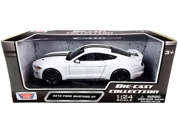2018 Ford Mustang GT 5.0 White with Black Stripes 1/24 Diecast Model Car by Motormax