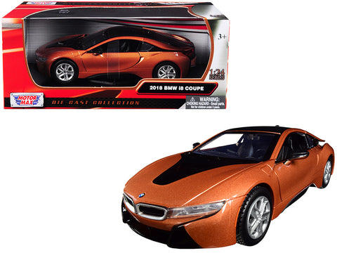 2018 BMW i8 Coupe Metallic Orange with Black Top 1/24 Diecast Model Car by Motormax