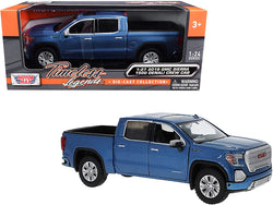 2019 GMC Sierra 1500 Denali Crew Cab Pickup Truck Blue Metallic 1/24-1/27 Diecast Model by Motormax