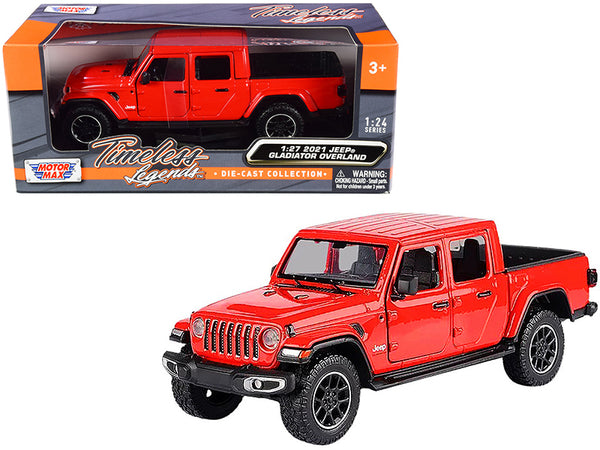 2021 Jeep Gladiator Overland (Closed Top) Pickup Truck Red 1/24-1/27 Diecast Model by Motormax
