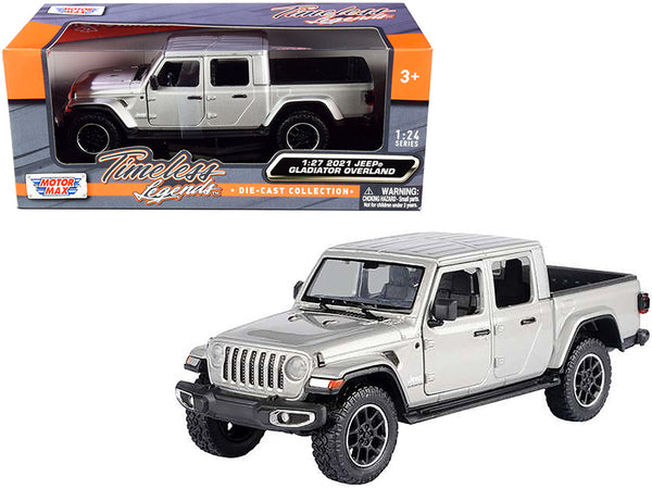 2021 Jeep Gladiator Overland (Closed Top) Pickup Truck Silver Metallic 1/24-1/27 Diecast Model by Motormax
