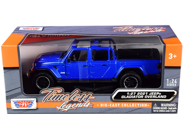 2021 Jeep Gladiator Overland (Open Top) Pickup Truck Blue Metallic 1/24-1/27 Diecast Model by Motormax