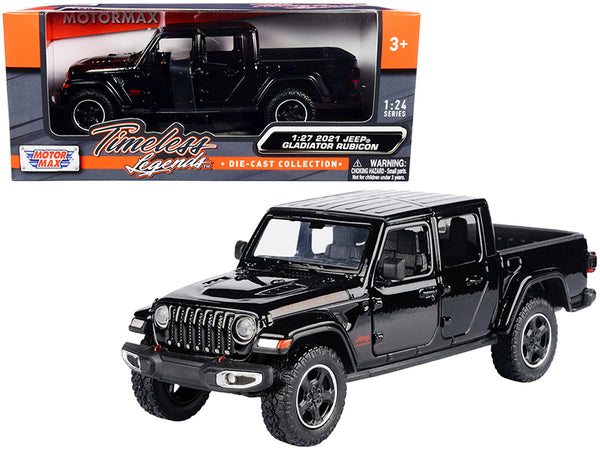 2021 Jeep Gladiator Rubicon (Closed Top) Pickup Truck Black 1/24-1/27 Diecast Model by Motormax