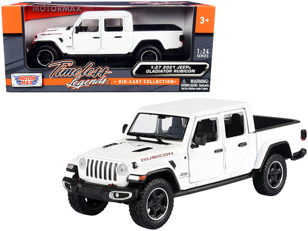2021 Jeep Gladiator Rubicon (Closed Top) Pickup Truck White 1/24-1/27 Diecast Model by Motormax