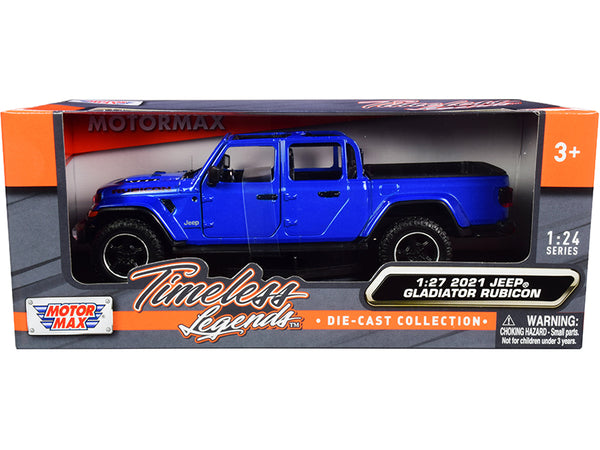 2021 Jeep Gladiator Rubicon (Open Top) Pickup Truck Blue 1/24-1/27 Diecast Model by Motormax